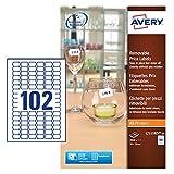 Avery 2040 Etiquettes Autocollantes de Prix Amovibles (102 par Feuille) - 26x16mm - Impression Laser, Jet d'Encre (L7115REV)