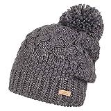 Nordbron3138 Ella Warme, edle und einfarbige Bommel-Mütze. Extra dickes Garn und Fleece Lining halten Kopf und Ohren warm.Grau (c003 grey), onesize
