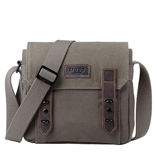 TRP0491 Troop London Heritage Canvas Leather Across Body Bag, Shoulder Bag for Men and Women, Canvas Bag for Travel and Work ║ H22 X W25 X D9.5CM - London Cross Body