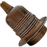 Lampensockel mit Edisonfassung (E27), aus Metall und Keramik in antikem Messing-Look, für Lampen, Kronleuchter und Deckenleuchten Art Deco E27 Bulb Holder with Metal Cord Grip