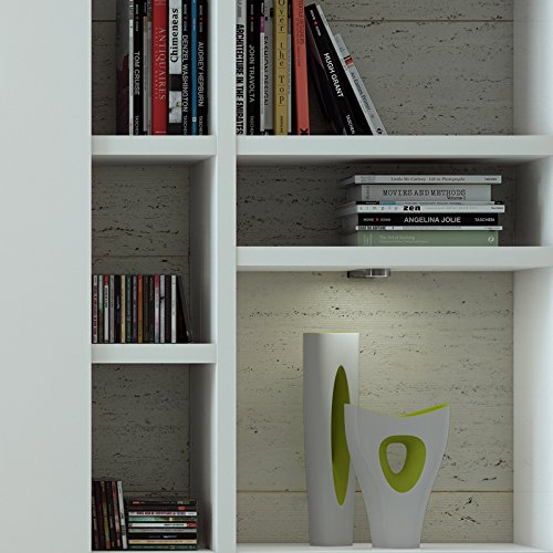 Wohnwand Bücherregal CD DVD Regal TOLEO238 Hochglanz weiß, LED - 4