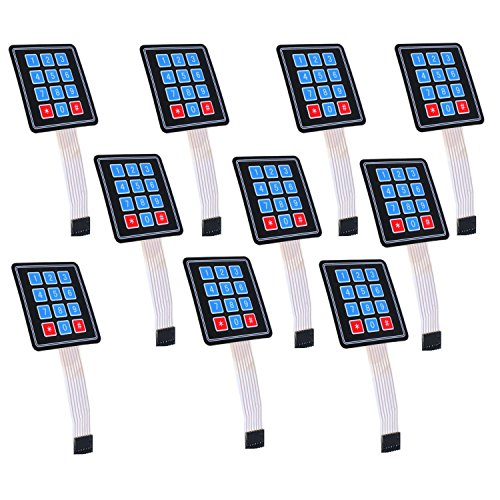 Optimus Electric 10pcs 3x4 Membrane Switch Matrix Keypad Thin and Flexible with Cable Connector and Adhesive Back for Easy Surface Attachment from (Switch Light Custom)