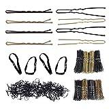 320 Stück Haarnadeln Haarschmuck Haarspangen Bobby Pins für Mädchen und 200 Stück Haargummi Haarklammern für Mädchen und Frauen-Blond-Gewellt