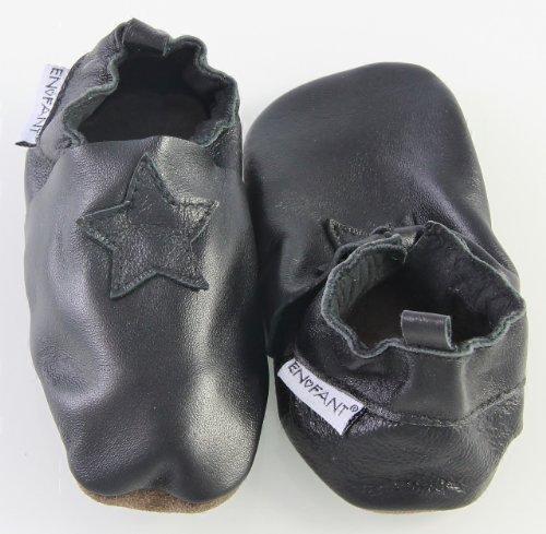 EN-FANT mixte chaussons en cuir, noir, taille 24, 813115U-00 noir