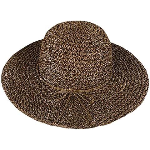 GODHL Bowknot spiaggia sole visiera pieghevole ampia tesa paglia cappello per donna Caffè