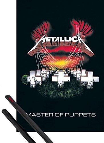Poster + Sospensione : Metallica Poster Stampa (91x61 cm) Master Of Puppets E Coppia Di Barre Porta Poster Nere 1art1®