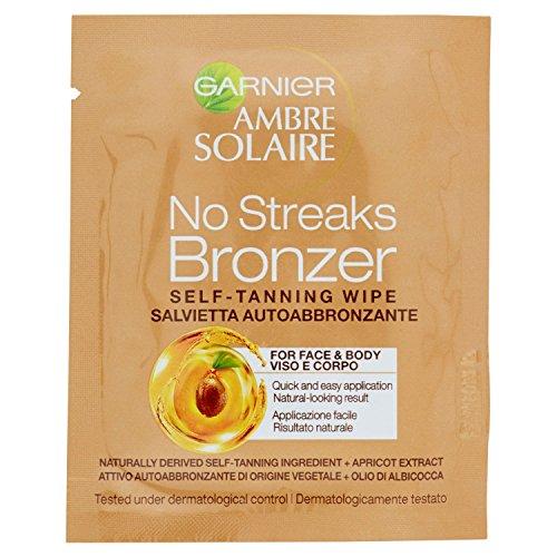 Garnier ambre solaire protezione solare viso e corpo natural bronzer, salvietta autoabbronzante viso e decollété con olio di albicocca, 6 ml