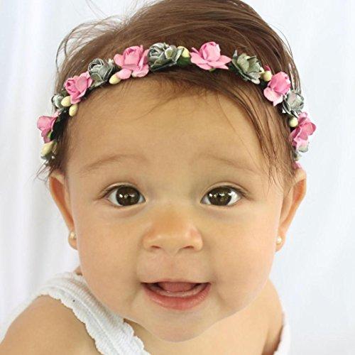 kingko® Kinder Strick Kränze 15cm 5.9 Geeignet für 2~9 Jahre alte Kinder machen Ihr Baby voller Vitalität Heißes Rosa