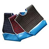 3PCS Adult Bibs for Eating with Optional Crumb Catcher Waterproof Dining Bibs Clothing Protectors for Eldly