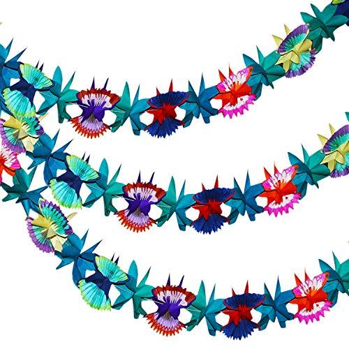 Tropische Girlande im 3er Set - Bunte Hawaii Blumenkette aus Seidenpapier - Hawaii-Deko Blumen-Girlanden, 3m Luau Girlanden für Dschungel Motto Party Dekoration, Geburtstag Festival Hochzeit