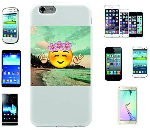 """Smartphone Case Apple IPhone 7+ Plus """"Über Strand Smiley mit fröhlichem Peacezeichen und Rosen auf dem Kopf"""", der wohl schönste Smartphone Schutz aller Zeiten."""