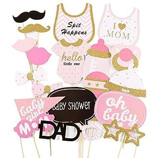 Anladia 20tlg. Pink Baby Shower Party Foto Verkleidung Photo Booth Props Maske Baby Taufen Party Geburtstag Fotorequisiten Fotoautomaten Party Fun Partymitbring