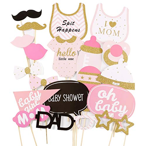 Anladia 20tlg. Pink Baby Shower Party Foto Verkleidung Photo Booth Props Maske Baby Taufen Party Geburtstag Fotorequisiten Fotoautomaten Party Fun Partymitbring