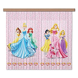 Disney AG Design Princess Kids Curtains/3D Photo Print, Polyester Multi-Colour, 180 x 160 cm