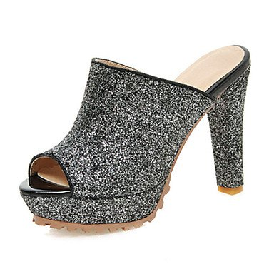 LvYuan Damen-High Heels Slippers & Flip-Flops-Kleid Lässig-Glanz Stoff-Plateau-Plateau-Schwarz Silber Silver