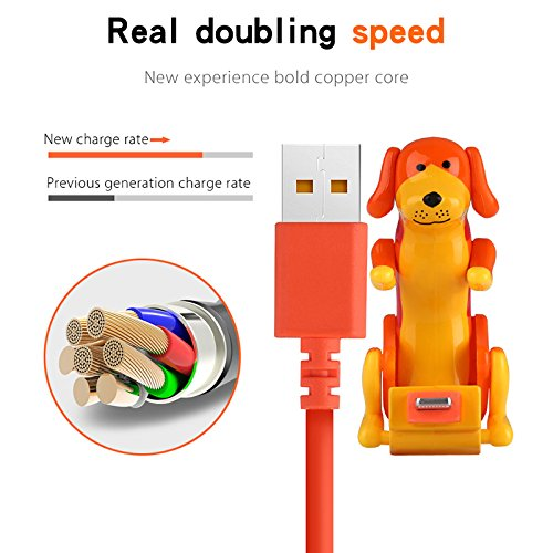 ASOSMOS USB Kabel Ladekabel Mini Hund Lustige Welpen Spielzeug für Android iPhone Smartphone Tablet (Rot(für Android Micro/Type-C))