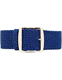 daluca Perlon de nailon trenzado correa para reloj–Azul Marino (hebilla de pulido): 22mm