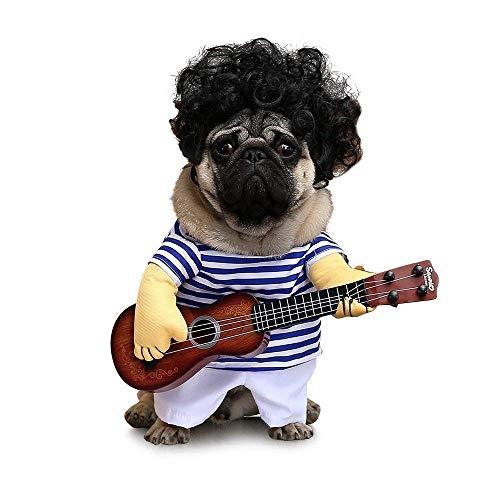 Dewanxin pet costume gitarrist party festival travestimento funny cantante cani abbigliamento cartoon abbigliamento cute cosplay vestito da cane gatto animali domestici halloween dress up