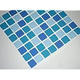 Confezione da 10, colore: blu oceano AQUA tile-makeover-Tessere mosaico, trasformano bagno o il rivestimento della cucina, autoadesivo, rapido, nessun caos
