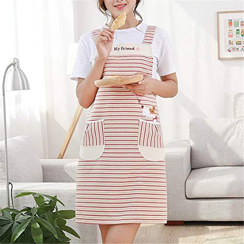 Chef Kostüm Für Plus Erwachsene - YXDZ (2 Stücke Küchenschürze Weibliche Wasserdicht Und Ölbeständig Kochen Erwachsene Mode Overalls Hause Kleider Europäischen Koreanischen Rot