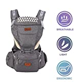 Gossipyboy Baby Carrier/ Babytrage/ Bauchtrage/ Rückentrage Neugeborene for All Seasons mit 6 Taschen zur Lagerung 6 in 1 Atmungsaktiv 360 Ergonomische Hip-Sitz für Wachsende Baby(Grau)