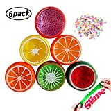 Swallowzy Frucht Schleim Fruit Slime Magic Crystal Clay Plasticine Schleim Kitt Toy Soft Rubber mit Fruit Slice für Kinder, Studenten, Geburtstag, Party - 6PCS