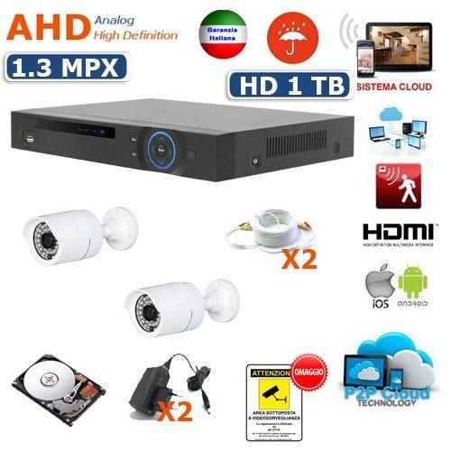 KIT VIDEOSORVEGLIANZA AHD DVR 4 CANALI 2 TELECAMERE AHD 2000 TVL 1.3 MPX INFRAROSSI 36 (Tvl Telecamera Bullet)
