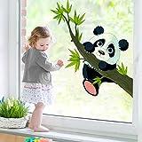 Fenster Aufkleber Klettern Panda Fensterfolie Fenster Tattoo Glas Aufkleber Fenster Kunst Fenster Décor Fensterdekoration Fenster Bild, Maße: 46cm x 40cm