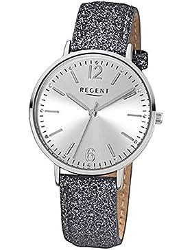 Regent Damen-Armbanduhr Fashion Analog Leder-Armband grau Quarz-Uhr Ziffernblatt silber URBA361