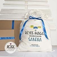 Saco personalizado de los Reyes Magos. 50x80 cm. Elige el color del diseño. Decoración original regalos Árbol Navidad