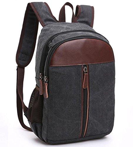 &ZHOU Segeltuchtasche, Mode-Canvas mit Leder Rucksack Computer Tasche Rucksack Schultasche Reisen, unisex Black