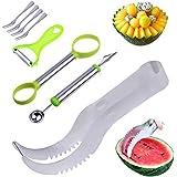 Angelbubbles sandía máquina de cortar Melon Slicer 100% de la manija del acero inoxidable 304 + antideslizante de plástico SAFE (Plata)