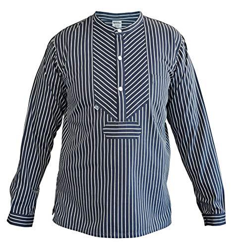 MADSea Fischerhemd Herren Damen klassisch gestreift Finkenwerder Stil, Größe:XXL