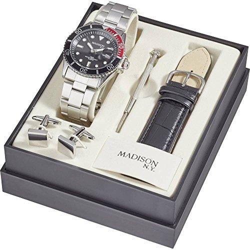 Madison New York Quarz Armbanduhr SUN427A6 (Ø) 40mm Silber Gehäusematerial=Metall Material (Armban