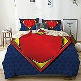 Housse de couette Beige, My Super Hero Shield Logo Heart Figure Valantines Romance, Ensemble de literie décoratif de 3 pièces taille double avec 2 couvre-oreillers Entretien doux et doux, anti-allergi