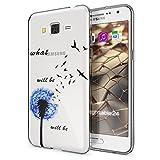Samsung Galaxy Grand Prime Hülle Handyhülle von NALIA, Slim Silikon Motiv Case Cover Crystal Schutzhülle Dünn Durchsichtig, Etui Handy-Tasche Backcover Transparent Bumper, Designs:Dandelion Blau