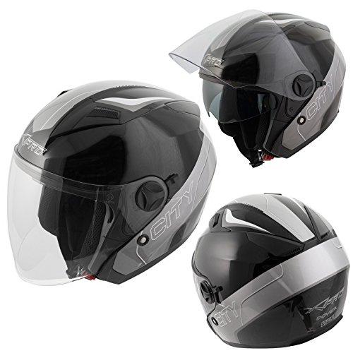 A-pro Jet Open Face Inner Sun Visor Helmet Motorcycle Scooter Motorbike City Black XL