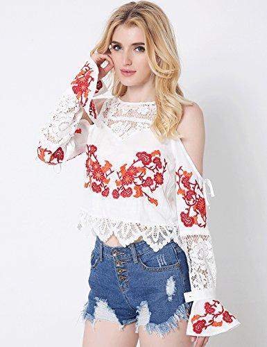 Relaxfeel Plus Size femmes Blouse dentelle brodée Stitching Shirt Blanc