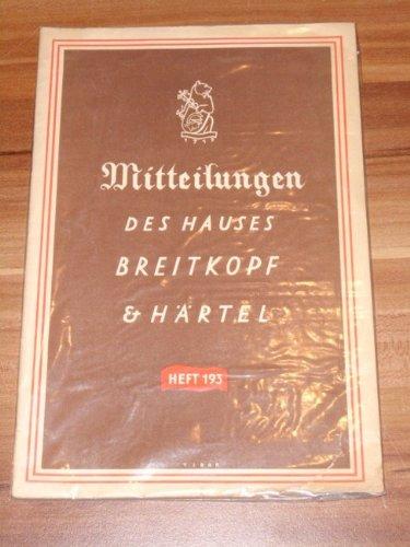 Mitteilungen des Verlages (Hauses) Breitkopf & Härtel - Leipzig, Nr. 193, Juni 1939