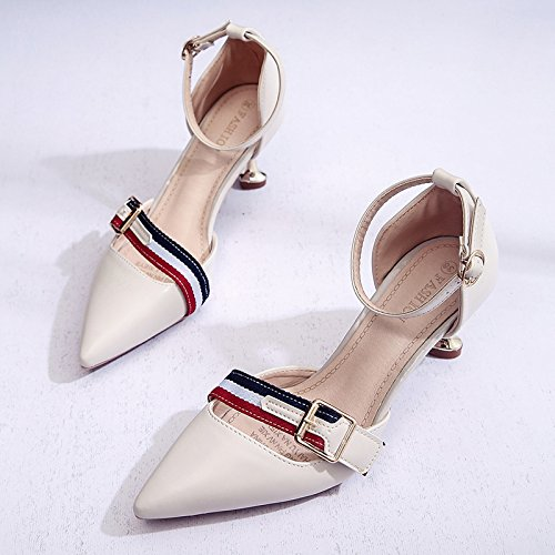 Lgk & fa estate sandali scarpe da donna Xia punta Baotou sandali tacco fine Beige
