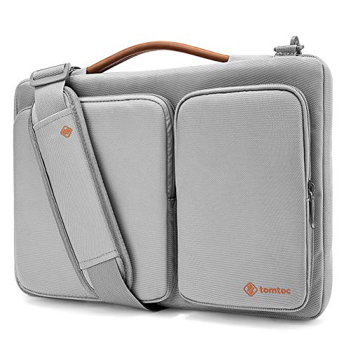 tomtoc Laptop Schultertasche Umhängetasche für 13,3 Zoll MacBook Air / 13 Zoll MacBook Pro Retina 2012-2015/13,5 Zoll Surface Laptop 2017, Notebook Tragetasche mit Schultergurt Grau