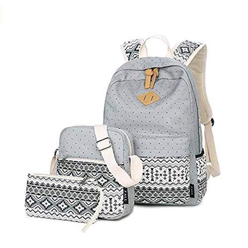 Casual Canvas Schulrucksack Set+Schultertasche +Geldbeutel/Mäppchen Causal Rucksack Freizeitrucksack Daypacks Backpack für Mädchen Jungen & Kinder Jugendliche Damen Herren (Grau)