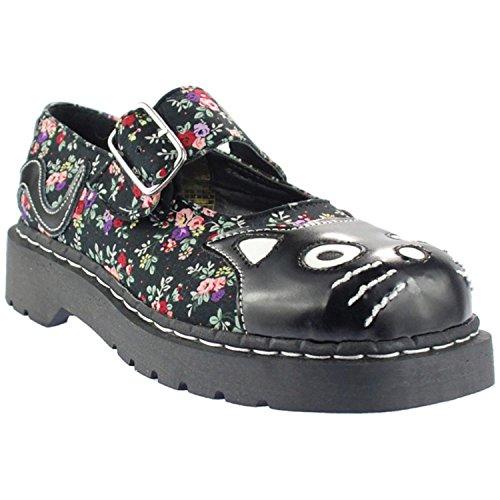 T.U.K Floral KITTY CAT Riemchen Vintage MARY JANES Schuhe Rockabilly (37)