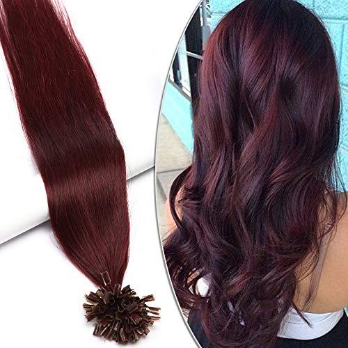 """Extensions Echthaar Bondings U-Tip Haarverlängerung günstig 100 Strähnen 0.5g per Echthaarsträhne Keratin Remy Human Hair 50g-18""""(45cm)(#99J Weinrot)"""