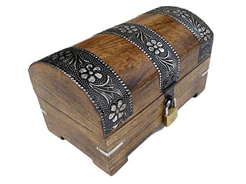 22S Truhe mit Schloss Holztruhe Schatzkiste Holzbox Geschenk Aufbewahrung verschließbar abschließbar mit Deckel