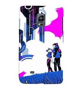 PrintVisa Cute Cartoon Couple 3D Hard Polycarbonate Designer Back Case Cover for Samsung Galaxy Note Edge