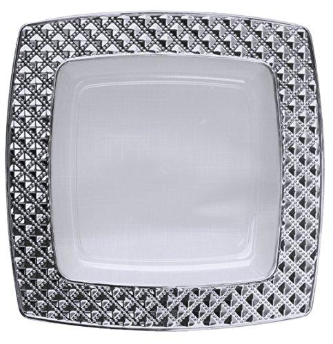 Decorline-Vajillas desechables cuadradas Partido plato Platos de plástico  Transparente con borde de plata de fd07732134c9