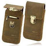 OrLine Leder Tasche Apple iPhone 7 Plus 5,5 Zoll Handy Schutzhülle Gürteltasche Hülle Etui Schalen Case Cover mit Lasche Handarbeit