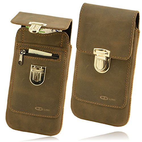 OrLine Leder Tasche Alcatel Idol 3C Handy Schutzhülle Gürteltasche Hülle Etui Schalen Case Cover mit Lasche Handarbeit
