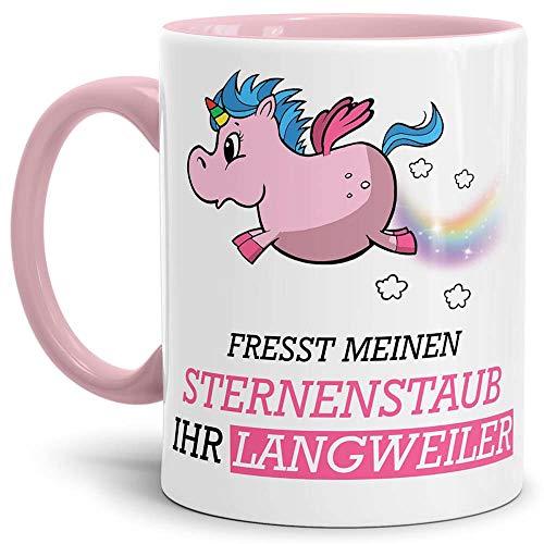 Tassendruck Unicorn/Einhorn/Farbtasse Innen und Henkel Rosa mit Spruch - Kaffeetasse Mug Cup...